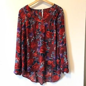 New York collection floral blouse size large